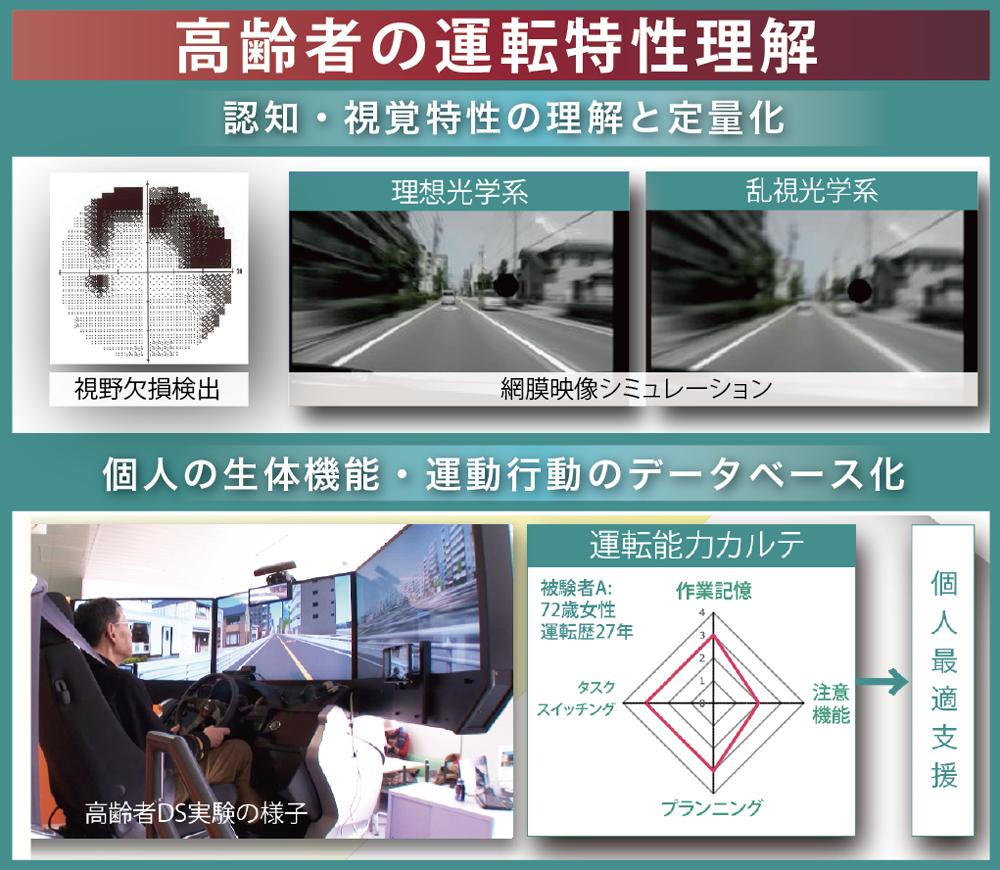 高齢運転者・高齢ドライバーOlder drivers、運転特性Driving characteristics、認知機能Cognitive function、視機能Visual function