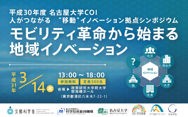 平成30年度名古屋大学COIシンポジウム、FY2018 Nagoya University COI Symposium (Briefing on Research and Development Results)